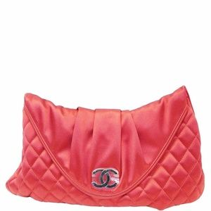 CHANEL CC Half Moon Quilted Satin Clutch Bag Red